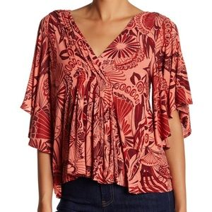 Free People Amour printed blouse coral combo S